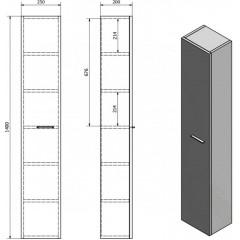 AQUALINE - ZOJA/KERAMIA FRESH skříňka vysoká 25x140x20cm, bílá 51125