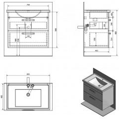 AQUALINE - POLY umyvadlová skříňka 76x66,6x46,5cm, 2xzásuvka, bílá PL080