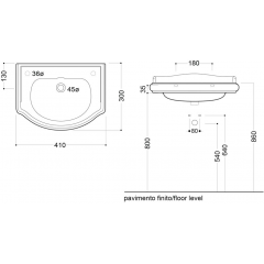 KERASAN - RETRO keramické umyvadlo 41x30cm, otvor pro baterii vlevo, bez přepadu 103301SX