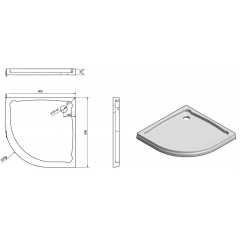 GELCO - HERA sprchová vanička z litého mramoru, čtvrtkruh, 90x90x7,5cm, R550 GH559