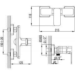 AQUALINE - FACTOR nástěnná sprchová baterie, chrom FC411