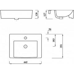 AQUALINE - MODIS keramické umyvadlo 45x35cm, bílá FS981