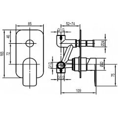 AQUALINE - DAPHNE podomítková sprchová baterie, 2 výstupy, chrom DH942