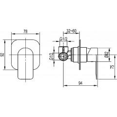 AQUALINE - DAPHNE podomítková sprchová baterie, 1 výstup, chrom DH841