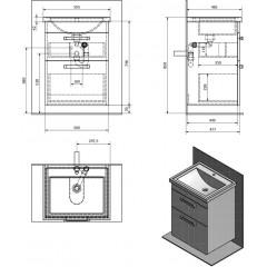 AQUALINE - POLY umyvadlová skříňka 56x74,6x46,5cm, 2xzásuvka, bílá PL060