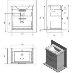 AQUALINE - POLY umyvadlová skříňka 66x74,6x46,5cm, 2xzásuvka, bílá PL070