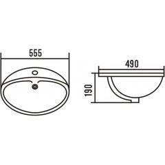 AQUALINE - Keramické umyvadlo 55x49 cm, zápustné 55481