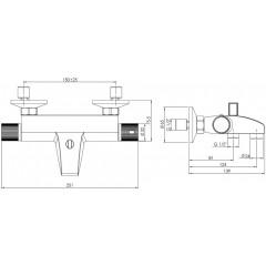 AQUALINE - ACTION nástěnná vanová baterie termostatická , chrom MB106