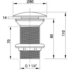 ISVEA - Výpust pro umyvadla bez přepadu, keramická zátka 38TP0113