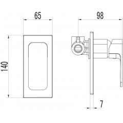 AQUALINE - FACTOR podomítková sprchová baterie, 1 výstup, chrom FC541