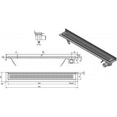 AQUALINE - KROKUS nerezový sprchový kanálek s roštem, ke zdi, 960x122x92 mm 2715-10