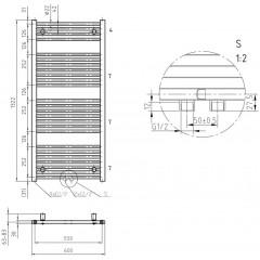 AQUALINE - DIRECT otopné těleso se středovým připojením, 600x1322 mm, 693 W, bílá ELM36