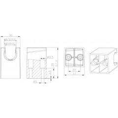 AQUALINE - Pevný držák sprchy, hranatý, 57mm, ABS/chrom SK050