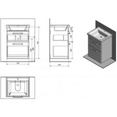 AQUALINE - POLY umyvadlová skříňka 51,8x74,6x44 cm, 2xzásuvka, bílá PL055