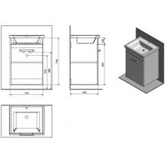AQUALINE - POLY umyvadlová skříňka 51,8x74,6x44 cm, 1xdvířka, bílá PL052