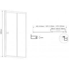 AQUALINE - AMADEO posuvné sprchové dveře 1200 mm, sklo BRICK BTS120