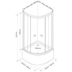AQUALINE - ARLEN čtvrtkruhová sprchová zástěna 900x900x1500 mm, sklo BRICK BTR903