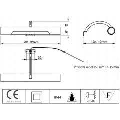 AQUALINE - ANDREA LED svítidlo, 5W, 284x32x134mm, chrom E26716CI