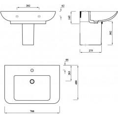 AQUALINE - DORI keramické umyvadlo s odkládací plochou 70x48 cm, bílá FS1D1