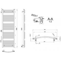 AQUALINE - ORBIT otopné těleso s bočním připojením 600x1868 mm, 1033 W, bílá ILO86E