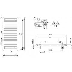 AQUALINE - DIRECT otopné těleso s bočním připojením 450x1322 mm, 564 W, bílá ILR34E