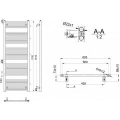 AQUALINE - DIRECT otopné těleso s bočním připojením 600x1700 mm, 914 W, bílá ILR66E