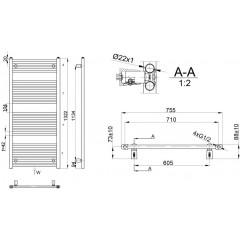 AQUALINE - DIRECT otopné těleso s bočním připojením 750x1322 mm, 864 W, bílá ILR37E