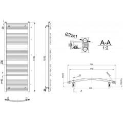 AQUALINE - ORBIT otopné těleso s bočním připojením 750x1700 mm, 1125 W, bílá ILO67E