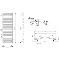 AQUALINE - ORBIT otopné těleso s bočním připojením 450x1700 mm, 732 W, bílá ILO64E