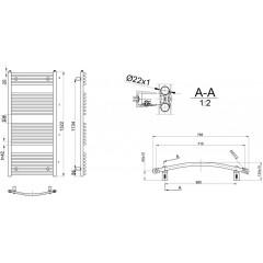 AQUALINE - ORBIT otopné těleso s bočním připojením 750x1322 mm, 878 W, bílá ILO37E