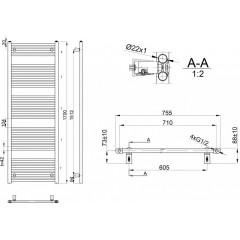 AQUALINE - DIRECT otopné těleso s bočním připojením 750x1700 mm, 1107 W, bílá ILR67E
