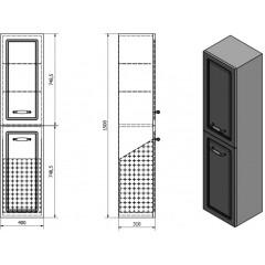 AQUALINE - FAVOLO vysoká skříňka košem 40x150x31cm, bílá mat FV160