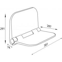 AQUALINE - DINO sklopné sedátko do sprchového koutu, 37,5x29,5cm, bílá DI82