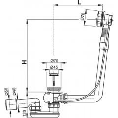 Alcaplast Sifon vanový automat komplet kov délka 80 cm A550K-80
