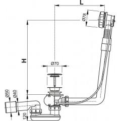 Alcaplast Sifon vanový automat komplet kov délka 80 cm A550KM-80