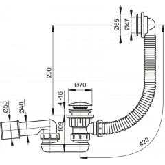 ALCAPLAST - Sifon sprch 60 DN50/40 click/clack s přepadem A503KM A503KM