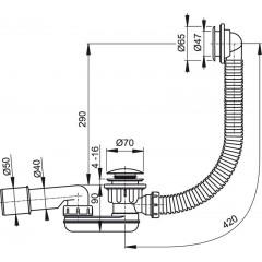ALCAPLAST - Sifon sprchový 60 SNÍŽENÝ v.90mm CLICK/CLACK s přepadem, chrom, d40/50 Alcaplast, nízký A506KM A506KM