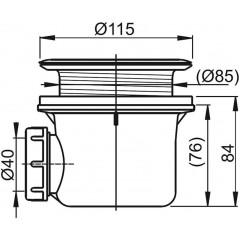 Alcaplast sifon pro sprchové vaničky 90mm BASIC A48 chrom mřížka 85mm ALCAPLAST plast A48 A48