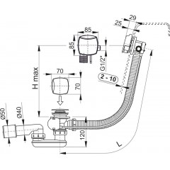 ALCAPLAST Sifon vanový napouštěcí 60cm chrom/plast A564CRM3, zátka d70mm hranatá-prolis A564CRM3