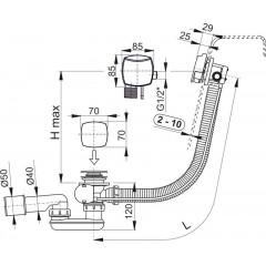 ALCAPLAST Sifon vanový napouštěcí 80cm chrom/plast A564CRM2-80, zátka d70mm hranatá A564CRM2-80