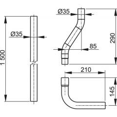ALCAPLAST - WC splachovací komplet A950 35mm trubka,koleno,etážka A950 A950