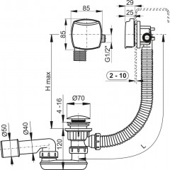 Alcaplast Sifon vanový click/clack napouštěcí A508KM-120