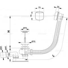 ALCAPLAST - Sifon vanový automat 120cm chrom-plast A51CRM-120 kompletní, d70mm zátka Alca Plast A51CRM-120