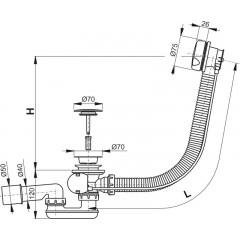 ALCAPLAST Sifon vanový automat 80cm A51BM-80 bílý, komplet A51BM-80
