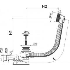 ALCAPLAST Sifon vanový automat 80cm černá mat-kov A55BLACK-80 kompletní, d45mm zátka A55BLACK-80