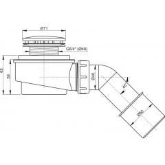 Alcaplast sifon sprchový pro vaničky 50mm SNÍŽENÝ v.65mm koleno, chrom, 52l/min, Alca Plast, i pro keramické vaničky, nízký A471CR-50 A471CR-50