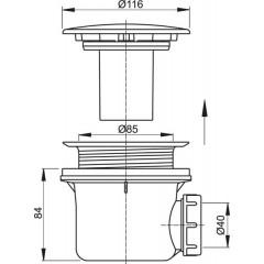 ALCAPLAST - Sifon sprch 90 A49 černá-mat, kov Alca Plast A49BLACK A49BLACK