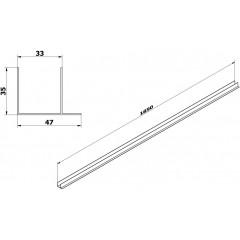 AQUALINE - AMICO stěnový F profil pro sprchové výklopné dveře G70, 80, 100 ND-GF