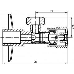 AQUALINE - MULTITURN rohový ventil 1/2'x3/8', bez matky, chrom 5316
