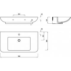 AQUALINE - DORI keramické umyvadlo s odkládací plochou 90x48 cm, bílá FS1H1